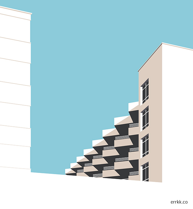 Illustration of a building with triangular balconies
